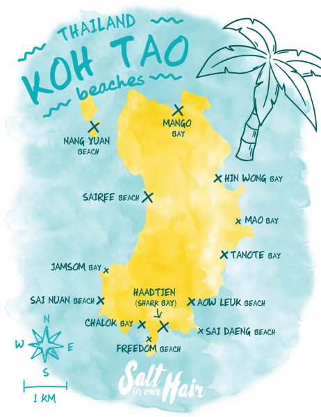 koh tao map beaches