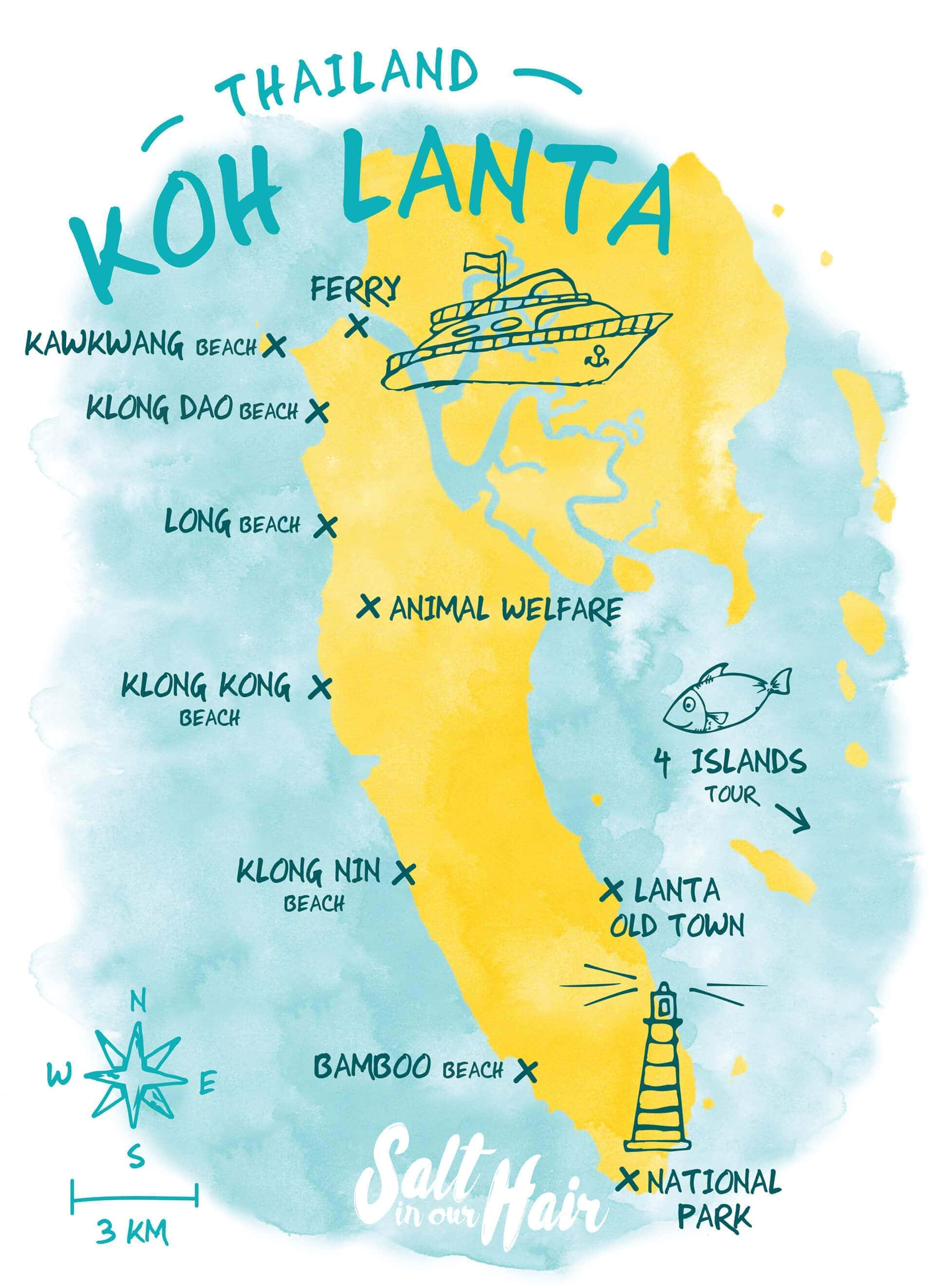 koh lanta map beaches