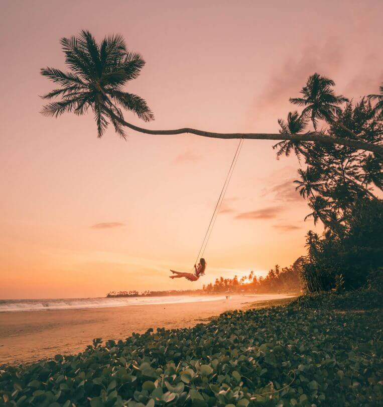 Hiriketiya Dikwella palm swing sunset