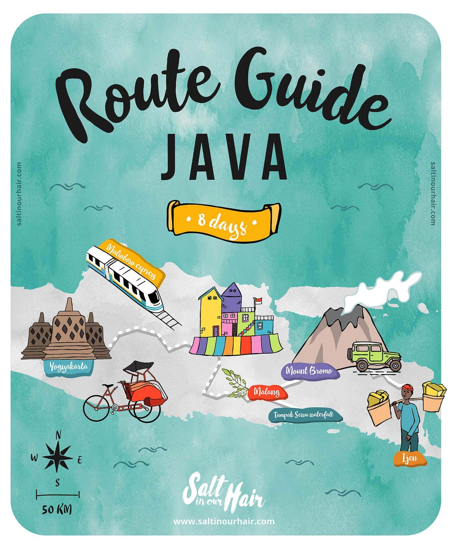 central east java route guide map