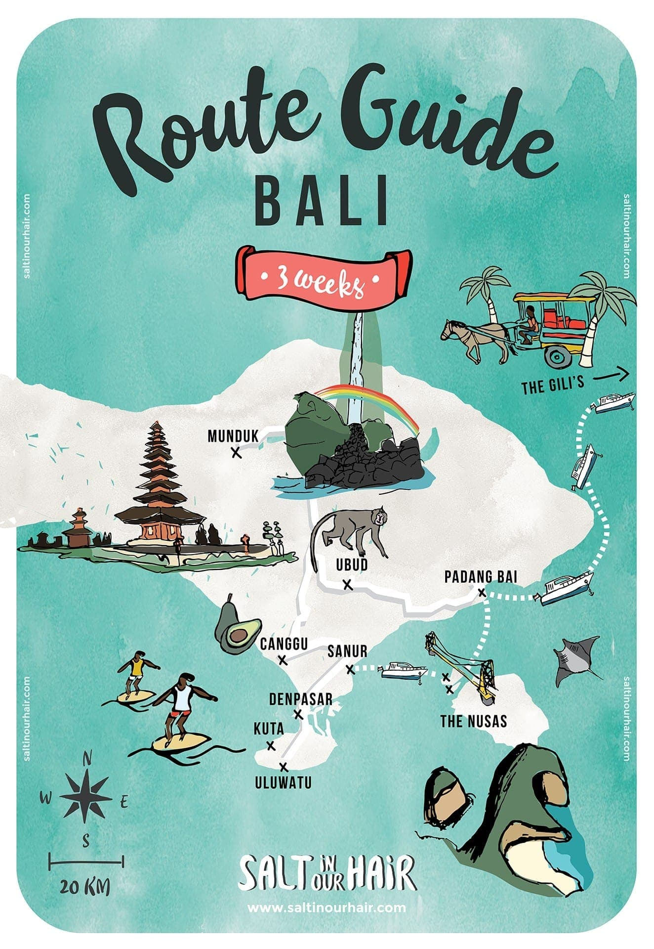 Bali route map 3 weeks