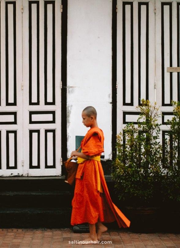 Monks ceremony luang prabang laos